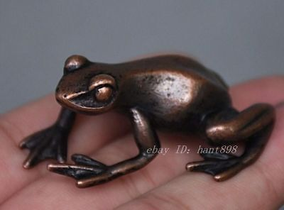 Chinese Folk Feng Shui Pure Copper Bronze Lucky Animal Frog Statue Figurine
