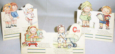 -Rare- Early -Campbell's Soup Kids- Vintage Die-Cut Place Cards Set w/Airplane