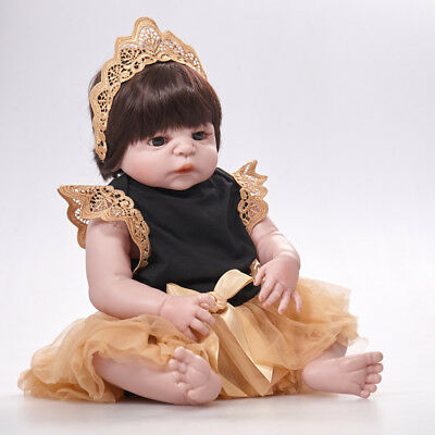 "22""Reborn Baby Doll Silicone Lifelike Toddler Cute PrincessBaby Doll Washable"