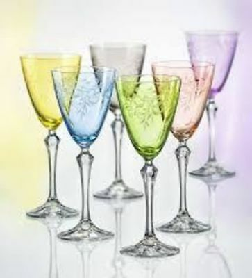 Bohemia Crystal Colored Floral Wine Glasses, Set of 6