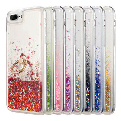 iPhone 8 7 6s Plus Waterfall Liquid Quicksand Bling Sparkle TPU Ring Case Cover