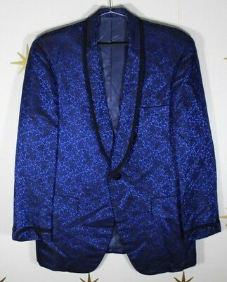 VTG 1972 Bespoke MONARCH Blue Floral 70s Smoking Dinner Tuxedo Jacket Mens 40R