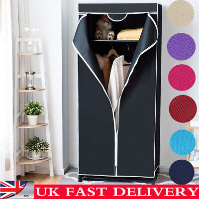 Single Canvas Wardrobe Rail Clothes Storage Shelves Organiser With Zip Cover