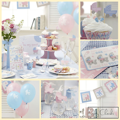 Pink And Blue Baby Shower Tableware - Gender Neutral Party
