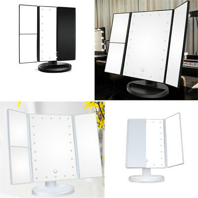 Foldable Putting on Make-up 2x 3x Magnifying Trifold Table Mirror 22 LED Beads