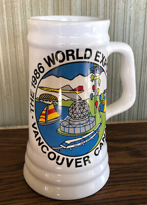 "Vancouver Canada 1986 World Expo Exposition Beer Stein Large 8 1/2"" Tall"