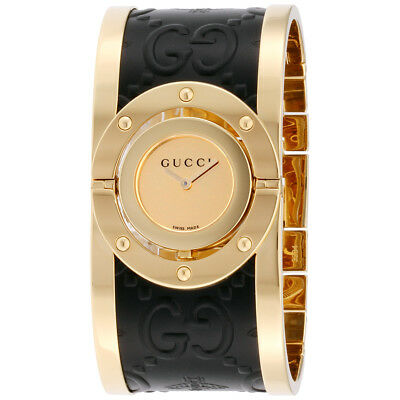 850cd5d1f2125 Gucci Twirl Gold Dial Stainless Steel   Leather Ladies Watch YA112444