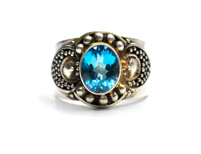 Sterling Silver Oval Cut Topaz Medieval Style Signet Ring #E