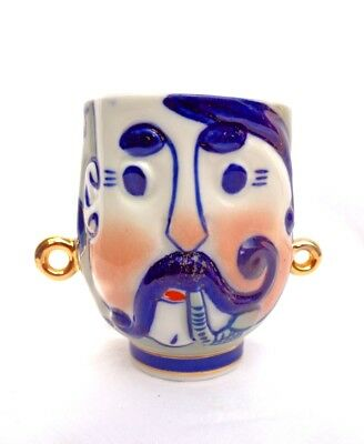 Antique Russian Porcelain Twin Handled 2 Faced Gilded Blue & White Cup/ Mug !!!!