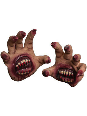 Adults Scary Creepy Palm Biter Gloves Hands Costume Accessory