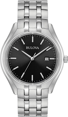 Bulova Men's 96B265 Quartz Black Dial Silver-Tone Bracelet 41mm Watch