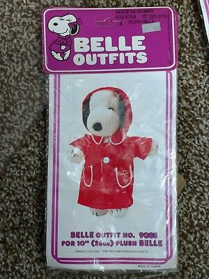 """Vintage Peanuts Snoopy Plush Belle Costume 10"""" Outfit Red Raincoat"""