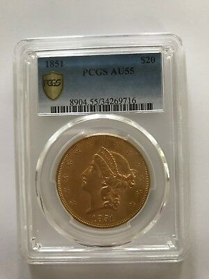 1851 Gold $20 Liberty Head PCGS 8904 AU55