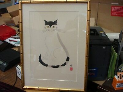 Oriental Japanese Chinese Cat   Framed Picture Wall Art
