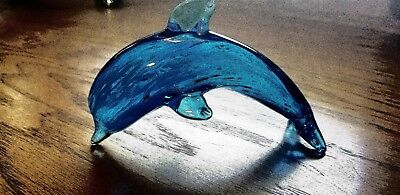 Multi-Blue Layered Glass Dolphin - Nice Gift Idea - Paperweight - Clean
