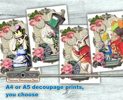 Alice In Wonderland decoupage tissue paper A4, A5 or A6 size- 4 designs