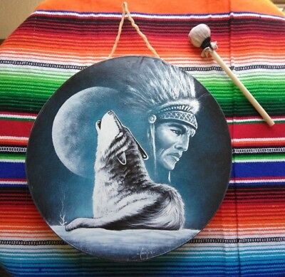 "Rawhide drums , HOWLING WOLF , WARRIOR , Hand painted 12"" , with beater"