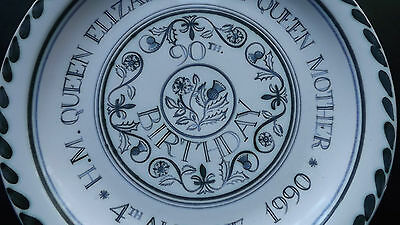 1990 Rye Pottery Plate Queen Mother 90th Birthday RARE DESIGN