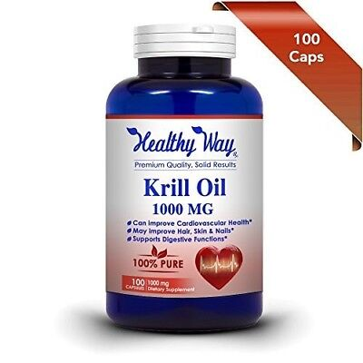 Pure Krill Oil 1000mg With Astaxanthin & Omega 3 100 Capsules NON-GMO
