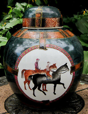 "EQUESTRIAN SCENE Ginger Jar LG 11"" Canister  Lid WBI World Bank Institute China"