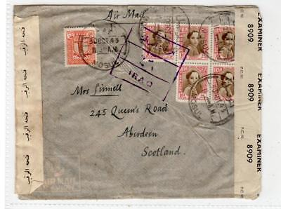 IRAQ: 1943 Censored Airmail cover to Scotland (C36438)