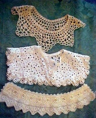 3 Vintage Collars - 1 Hand Crocheted - 1 Eyelet - One Ecru Lace - Beautiful