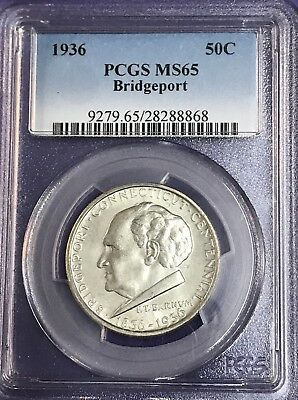 1936 PCGS Bridgeport Commemorative Half Dollar PCGS MS 65