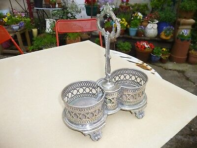 Vintage Silver Plated Double WINE/BOTTLE HOLDER, Pierced Design, Decorative Feet