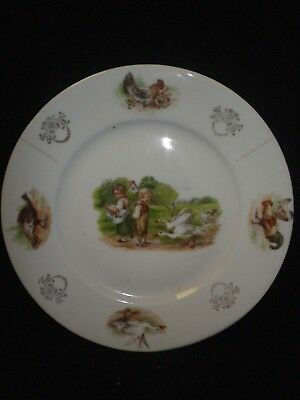 """7"""" Vintage German Porcelain Kids with Geese China Baby Plate"""