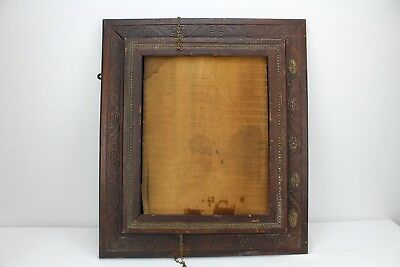 Vintage Antique Picture Frame Wood Wooden Ornate Old Oak With Door 22.5x19.5""