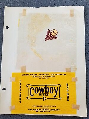 1930s VINTAGE COWBOY BITES 1 CENT TOMS CANDIES & MORE CANDY BAR WRAPPERS
