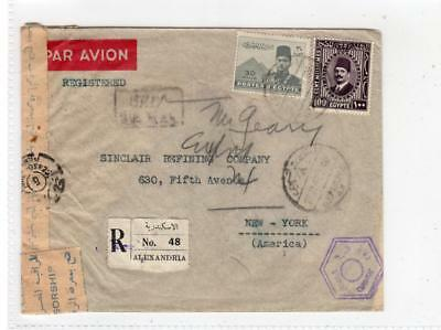 EGYPT: 1943 Registered Censored Airmail cover to USA (C36392)