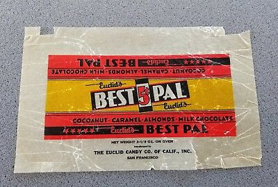 1930s EUCLID'S BEST PAL 5 CENT CHOCOLATE  CANDY BAR WRAPPER