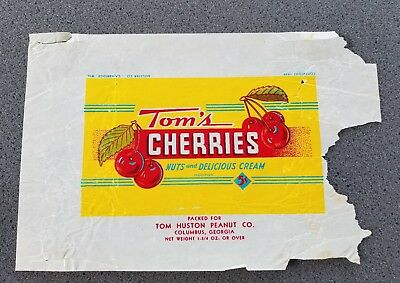 1930s VINTAGE TOM'S CHERRIES NUTS AND DELICIOUS CREAM 5 CENT CANDY BAR WRAPPER
