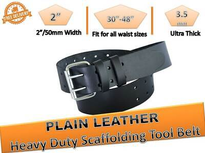 Scaffold Plain Black Leather Tools Belt Heavy Duty Professional Work 2'' wide
