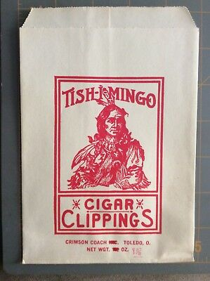 2 Vintage Tish-I-Mingo Tobacco Cigar Clipping Bags Unused Indian Take A Look!