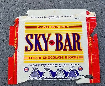 1937 Sky Bar 5 Cent Candy Bar Wrapper New England Confectionery Co