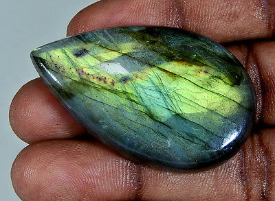 90.50Cts. Natural Golden Labradorite Cabochon Gemstone Pear ;#3853