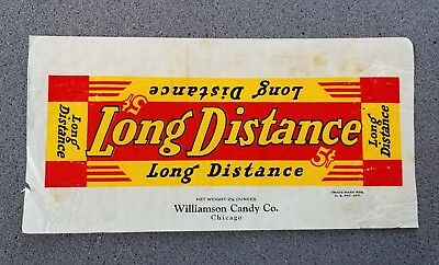 1930's Long Distance 5 Cent Candy Bar Wrapper Williamson Candy Co Chicago Il