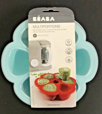 BEABA Silicone Multiportions Baby Food Tray, Oven Safe, Sky BPA FREE