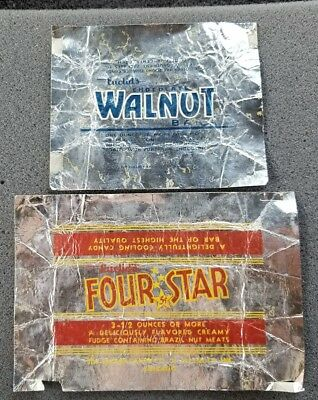 Vintage Euclid's Four Star & Chocolate Walnut Bar 5 Cent Candy Wrapper Chicago