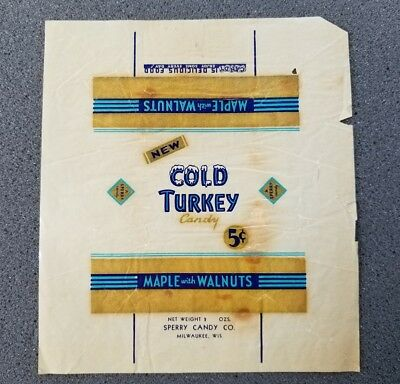 Vintage Cold Turkey Maple With Walnuts 5 Cent Candy Wrapper Sperry Candy Co