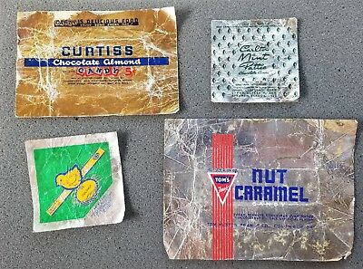 Vintage Curtiss Chocolate Almond/ Tom's Nut Caramel & More 5 Cent Candy Wrapper