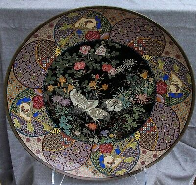 A very imposing large Meiji period (1868-1912) Japanese cloisonné enamel charger