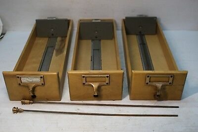 Lot of 3 Library Card Catalog Holder Drawer