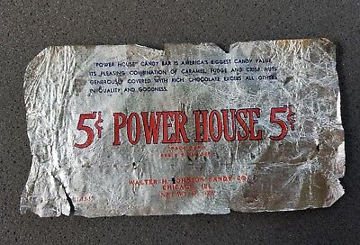 Vintage Power House 5 Cent Candy Bar Wrapper Walter H. Johnson Candy Co Chicago