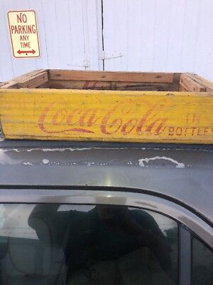 Vintage Wooden COKE Coca Cola Soda YELLOW Red Crate Carrier CHATTANOOGA 1969