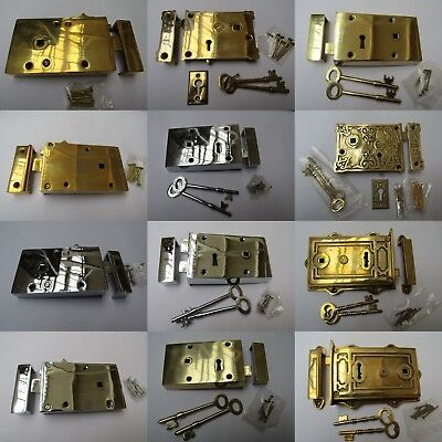 SOLID BRASS CONSTRUCTION -old vintage retro Victorian style rim door latch locks