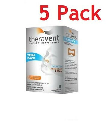 Theravent Snore Therapy Strips, Trial Pack, 6ct, 5 Pack 858076006002A580