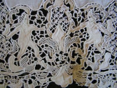 """1800's Point d'Angleterre Belgium Lace Adam & Eve Banquet 64"""" x 117"""" Tablecloth"""